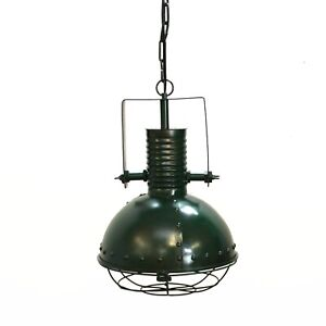 Industrial Pendant Factory Dock Light in Steel Dark Green with Rivets Cage Cover