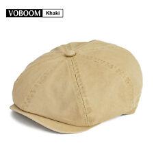 VOBOOM Men's KHAKI Solid Cotton Newsboy Cap Beret Gatsby Ivy Hat Cabbie Size=S/M