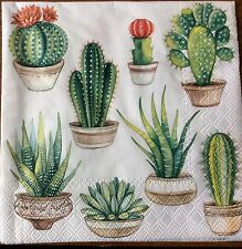 2 single paper napkins for Decoupage Crafts or Collection Exotic Plants Cactus