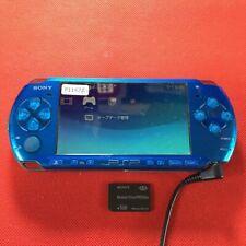 P11427 Sony PSP-3000 console Vibrant Blue Handheld system Japan w/Mem Card