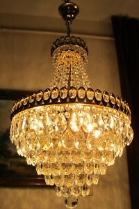 Antique Vnt.RARE Austria REAL Swarovski Crystal Chandelier Light  Lamp 1960's