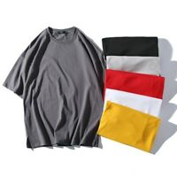 Men Cotton T-Shirt Pullover Hip-Hop Tee Tops Loose Half Sleeve Casual Soft Basic