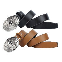 Western Mens Belt Leather Brown Black Waistband With Arabesque Metal Buckle