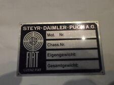 Placa IDENTIFICADORA AUSTRO Steyr Daimler PUCH PANEL ABOLLADURAS FIAT S4 Coche