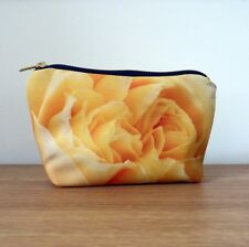 Make up Bag Cosmetics Handmade Ladies Gift Floral Flower Nature Yellow Rose