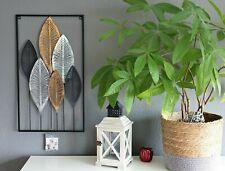 Wandbild Metall 3D Bild Wandschmuck Blätter Wanddekoration Metallbild 65x37cm