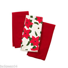 CHRISTMAS FLORAL WHITE RED GREEN PACK OF 3 TEA TOWELS 38CM X 64CM *GLO*