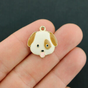 2 Dog Charms Gold Tone Enamel Brown And White - E634