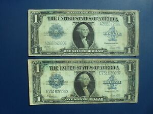 2No. LARGE SIZE 1923 USA SILVER CERTIFICATE $1 BANKNOTES F