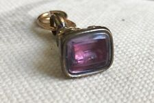 Antique Ornate Gold Plated Amethyst Intaglio Letter Wax Seal Fob Hunting Dog
