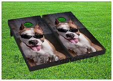 VINYL WRAPS Cornhole Boards DECALS Pitbull Dog Bag Toss Game Stickers 255