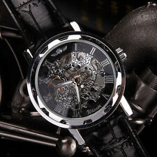 Luxus Herren Schwarz Armbanduhr Leder Skeleton Mechanisch Sportuhr Army Watch DE