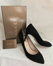 "NEW IN BOX GUCCI Black Suede Leather Pumps Shoes, size 8.5, 3"" Heel"