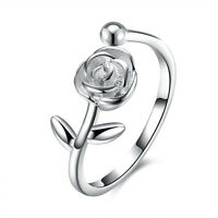 Sterling Silver Plated Fashion Resizable Ring AAA Zirconia Women B415