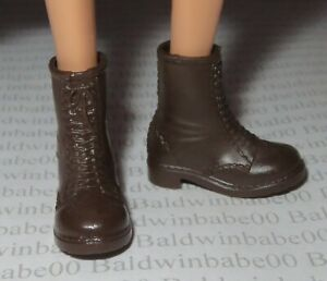 SHOES ~ BARBIE DOLL SALLY RIDE BROWN FAUX LACE ANKLE BOOTS FASHION ACCESSORY