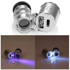 MINI Microscopio Tascabile 60x Glass Magnifier Loupe UV valuta Detector luce LED