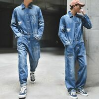 Men Denim Loose Casual Overall Jumpsuit Jeans Coat Suspender Romper Cowboy Pants