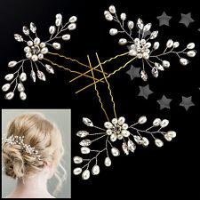 W3 3 Retro Wedding Bridal Pearl Crystal Hair Pins Bridesmaid Clip Handmade Comb