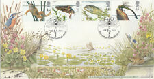 Bradbury FDC Pond Life Full Set Signed by  Terry Nutkins.  Famous Wildlife prese