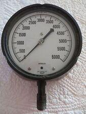 USG SUPERGAUGE PRESSURE GAUGE 0-6000 PSI AIR PRESSURE METAL GLASS STREAMPUNK
