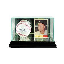 Single Baseball & Card Glass Display Case MLB Free Shipping