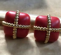 Vintage 1980s Red And Gold Tone Clip On Earrings