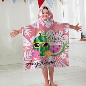 Kids Personalised Hooded Towel Hello Summer Pink Childrens Bathrobe Swim Bath