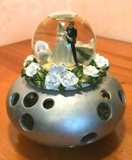 Vtg UNUSUAL Wedding Cake Topper Or Centerpiece Painted Silver Base & Glass Globe
