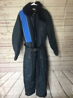 *WALLS Blizzard Pruf Men Blue Insulated Nylon Snowsuit Coverall Med Reg Made USA