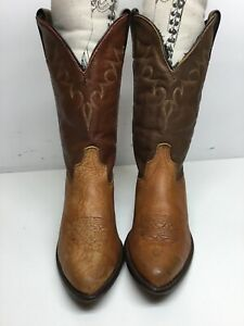 VTG WOMENS UNBRANDED COWBOY BULLHIDE BROWN BOOTS SIZE 7.5 M