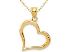 Collar Colgante de corazón abierto en oro Amarillo de 14K con cadena