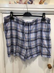 marks and spencer Women's pyjama Shorts size 18 100% Cotton Blue Sleep Shorts