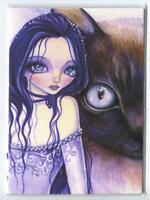 ACEO S/N L/E GORGEOUS GOTHIC GIRL SIAMESE CAT TENDER WATCHER SPIRIT RARE PRINT
