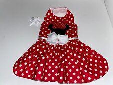 Handmade Dog Dress Minnie Mouse Themed Dog Harness Medium w/ Free Hair Bow