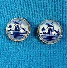 Antique Vintage 925 Fine Sterling Silver/Holland Painted Ceramic Clip Earrings.