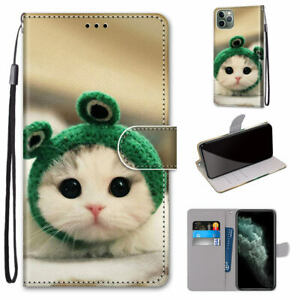 Frog Cat Cute Cartoon Animal Flip Wallet Stand Case Back Cover For Various Phone