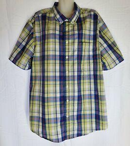 George Men's Plaid Dress Shirt Button Blue-Yellow 2XL