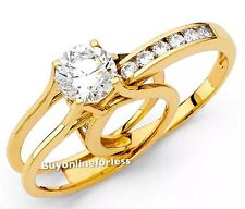 Ring 14k yellow real solid Gold round engagement Wedding band 2pc set size 7 6 8