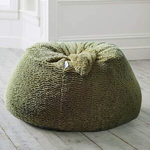 Handmade Fur Bean Bag Green Color Without Beans Attractive Luxuries beanbag