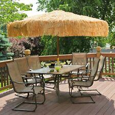 Whiskey Brown Palapa Tiki Hula Hawaiian 9 ft Wood Patio Umbrella Tropical Thatch