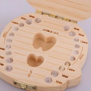 Container Collection Baby Tooth Organizer Wooden Teeth Save Case Storage Box
