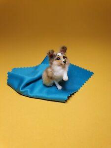 OOAK Realistic collie puppy  dog Dollhouse Handmade IGMA ARTISAN