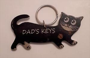 Dad's Keys Cat design Keyring, NEW  Cat Lover gift