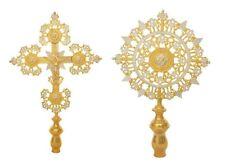 Large Size Gold-Plated Processional Cherubim & Cross Greek Orthodox Church Set