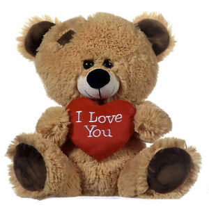 """Brown Patchwork Teddy Bear holding Red Heart with """"I Love You"""" written on it"""
