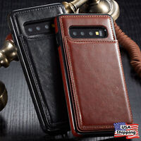 Leather Wallet Magnet Flip Cover Thin Slim Case For Samsung Galaxy S10/S10 Plus