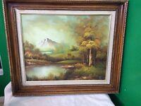 Vintage Oil On Canvas Original Painting Mountain Landscape Artist Signed~16X20