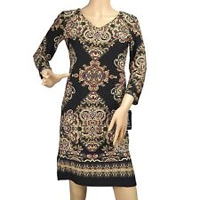 Women's Casual Long Sleeve Paisley Floral Sheath Dress Top INC Size PXS New