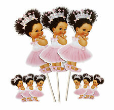 Pink Silver Crown Princess Centerpieces African American Baby Shower
