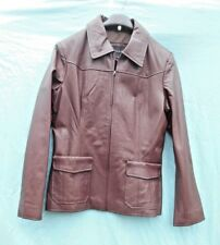 WOMENS SOFT BROWN GENUINE LEATHER ZIP FRONT JACKET  BY CENTIGRADE UK 10 (SMALL)